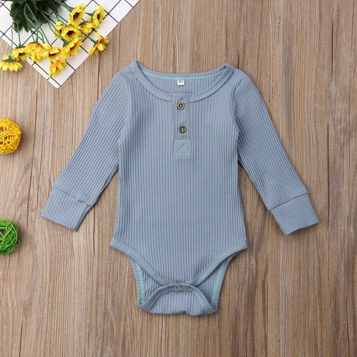 2020 Brand Nieuwe Pasgeboren Baby Baby Meisje Jongen Geribbelde Bodysuit Ruffle One-Stukken Solid Jumpsuit Lange Mouwen Outfits Lente sunsuit