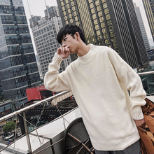 Fashion Men's Casual Winter New Knit Sweater M-3XL Personality Wild High Collar Youth Temperament Long Sleeve Solid Color Loose