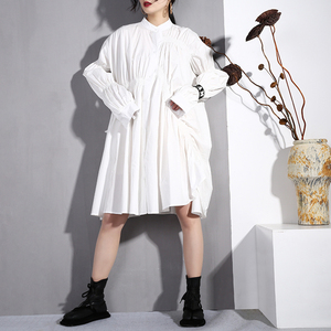 Image 3 - [EAM] 2020 nouveau printemps automne col montant à manches longues noir plissé pli point irrégulière grande taille robe femmes mode marée JO47