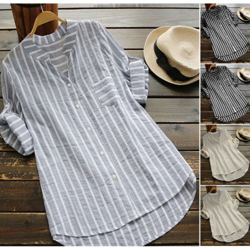New US Women Long Sleeve Casual Striped Loose Baggy Tunic Tops Blouse Size 5XL 2019