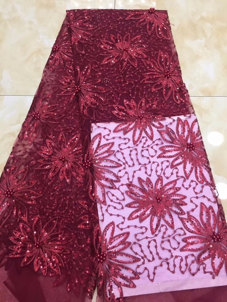 Spitze stoff für hochzeit dekoration 2018 hohe qualität afrikanische französisch spitze stoff mit perlen pailletten red nigerian spitze stoffe-in Spitze aus Heim und Garten bei  Gruppe 1