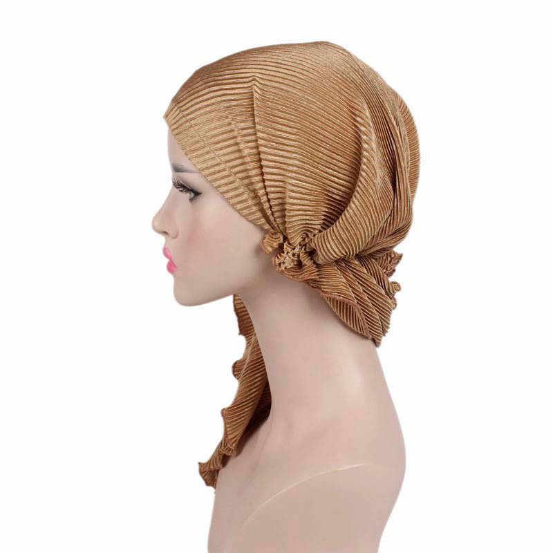 ... New Pre-Tied Headwear Bandanas Tichel for Cancer Ladies Turbante Women  Ruffle Headscarf Chemo Hat ... f7f25ade8b95