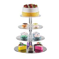 AUGKUN 4 Layer Round Acrylic Cake Stand Wedding Holiday Fruit Display Stand Transparent Cake Stand Cake Stand