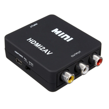 MINI HDMI to 3RCA CVBS Composite Video AV Converter Adapter TVVHS VCR DVD Black стоимость