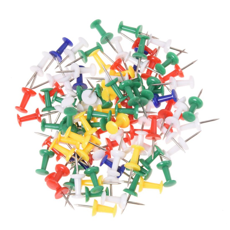 100pcs Colored Pushpins Metal Thumb Tacks Map Drawing Push Pins Crafts Office Accessories School Supplies Stationery