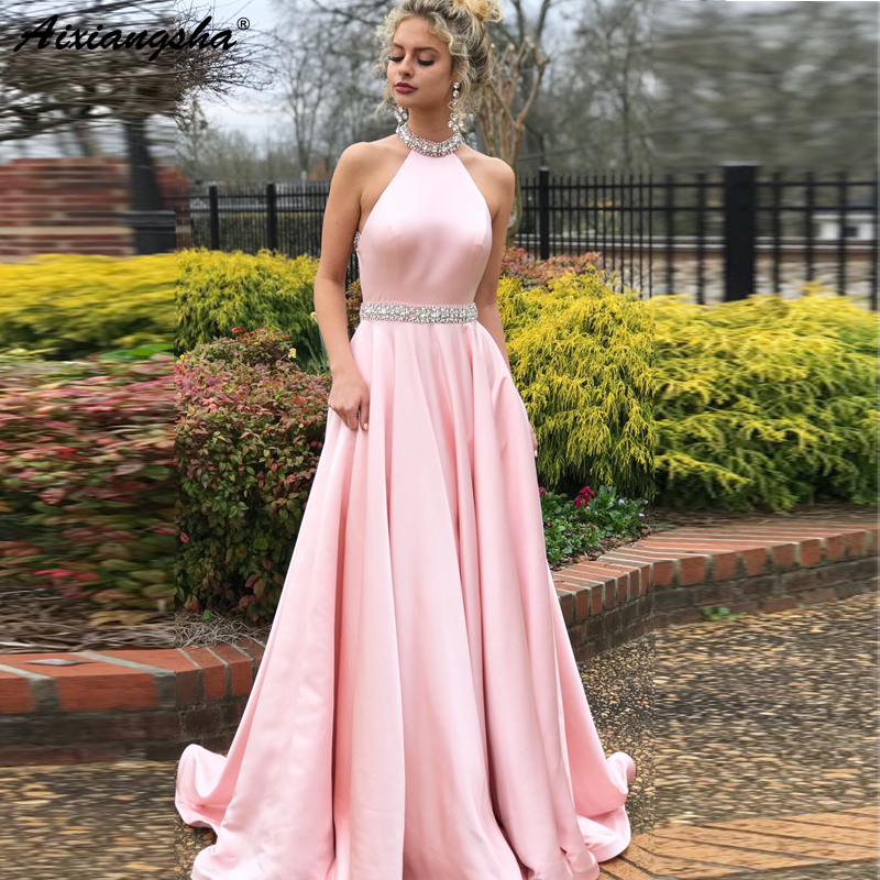 Sleeveless Beaded Crystal Halter Neck Backless Satin Pink Evening   Dress   vestidos de fiesta Long Graduation   Prom     Dresses   2019