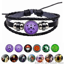 Rinnegan Eyes Naruto Bracelet Sharingan Eye Black Leather Uchiha Uzumaki Clan Logo Anime Cosplay Lover Gift