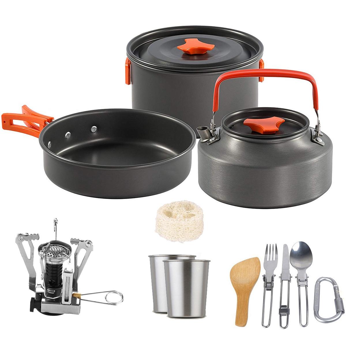 15 pièces/ensemble en plein air Camping batterie de cuisine ensemble ustensiles portables 2-3 personnes bol Pot cuillère vaisselle cuisine voyage pique-nique ensemble