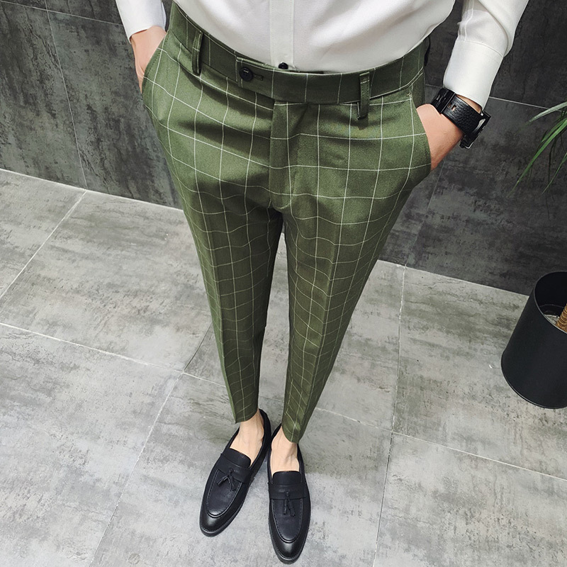 British Style Dress Suit Pant Man 2019 New Plaid Suit Pant Men Brand Designer Gentlemen Business Casual Work Pant Men Trousers