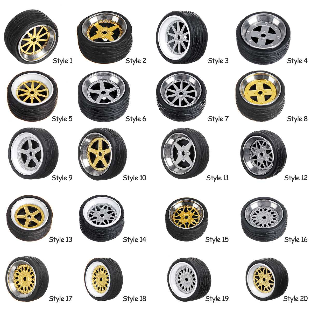 4pcs/box Alloy Wheels Tire Set Axles Vehicle Wheels Tire Modified Alloy Car Refit Wheels For 1/64 Vehicle Car Model