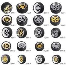 4 unids/caja ruedas de aleación juego de neumáticos ejes ruedas de vehículo neumático de aleación modificada coche ruedas de reparación para 1/64 modelo de vehículo
