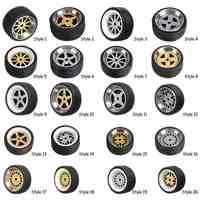 4pcs/box Alloy Wheels Tire Set Axles Vehicle Wheels Tire Modified Alloy Car Refit Wheels For 1/64 Vehicle Car Model