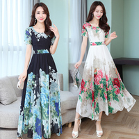 Lady Holiday Summer Dress Women Round Collar Short Sleeve Floral Print Long Chiffon Dresses Big Swing Vestidos S XXXL