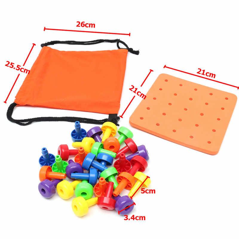 1 Set Multicolor Montessori Anak-anak Pendidikan Mainan Bayi Pegboard Tumpukan Mainan Kit Bayi Rumah Belajar Pendidikan Tumbuh Alat