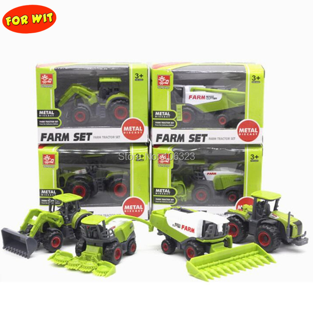 New 4 in 1 lots Metal + ABS Alloy Farm Trucks Models, Farmer Car Die-cast Toy Vehicles: Corn Rice Harvesters Tractors Bulldozers