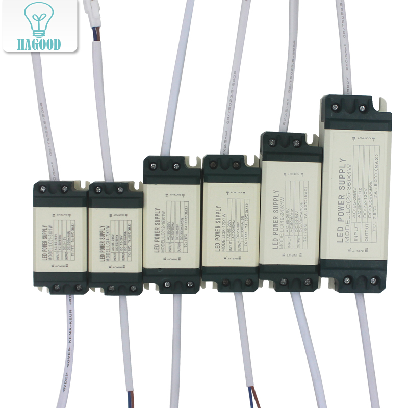 1-36W Safe Plastic Shell LED Driver Input AC90-265V Light Transformer Current Current 300mA Adaptador de fuente de alimentación para lámparas LED