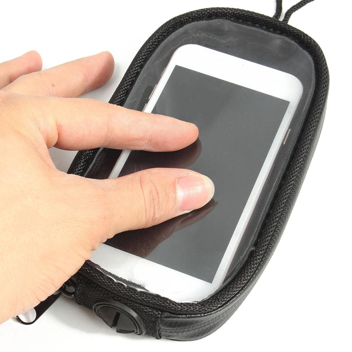 Negro Universal de la motocicleta bolsas magnético tanque de Gas claro para la caja del teléfono celular para la motocicleta del sostenedor del montaje