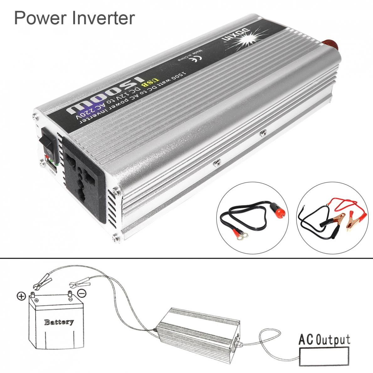<font><b>1500W</b></font> Car Power <font><b>Inverter</b></font> DC 12V 24V to AC 220V 110V USB Power Charger Converter Car <font><b>Inverter</b></font> Peak Power 3000W image