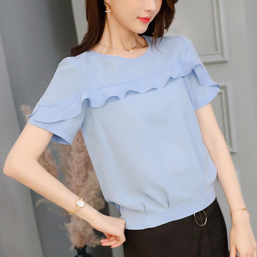New Women Chiffon Blouses Ruffle O-Neck Short Sleeve Summer Tops Fashion Solid Color Slim Ladies Office Shirts Blusas Feminina