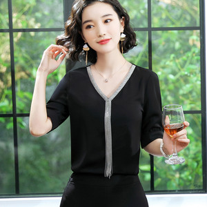 Image 4 - エレガントなシャツ女性プロ服新夏のファッション気質 v ネックシフォン半袖ブラウスプラスサイズトップス