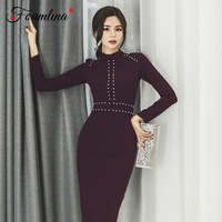Foamlina Beaded Bodycon Dress Women Autumn Fashion O Neck Long Sleeve Korean OL Style Lady Work Office Midi Pencil Sheath Dress