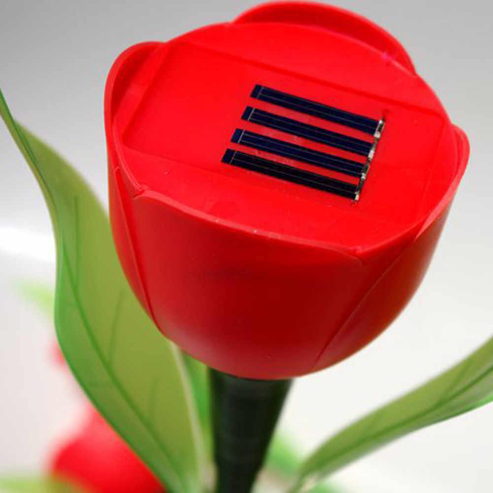 6 шт. наружная 3D тюльпан Светодиодная лампа в форме цветка двора садовый путь Ландшафтная лампа Солнечный садовые светильники газон Светодиодный светильник освещение