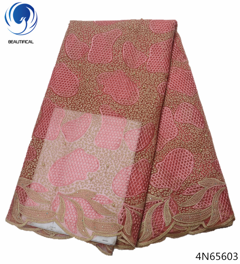 Beautifical african wedding fabric lace fashion lace fabric african tulle lace fabric hpt sales newest pattern for dresses 4N656