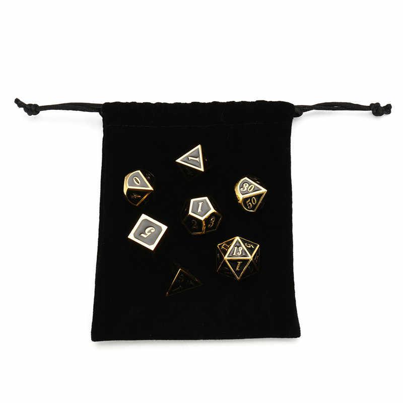 7 Pcs Metal Multi-face Brinquedos Kit Com Bag Para Dungeons Dragons Dices Jogo TRPG Crianças Número de Matemática Educacional aprender Brinquedo digitais