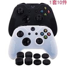 Cubierta de goma de silicona, funda de piel antideslizante para Xbox One/S/X Controller X 2 (blanco y negro) + Fps Pro, empuñaduras de pulgar de altura Extra X