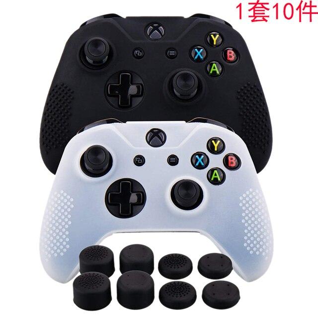 סיליקון גומי כיסוי עור מקרה אנטי להחליק עבור Xbox אחד/S/X בקר X 2 (שחור & לבן) + Fps פרו נוסף גובה אגודל כידון X