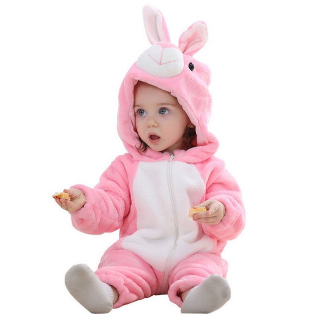 23fb06a4f882 Lovely Kid Baby Boy Girl Warm Rabbit Flannel Zipper Hooded Romper Bunny  Soft Jumpsuit Outfit Baby s costumes Winter Baby Clothes