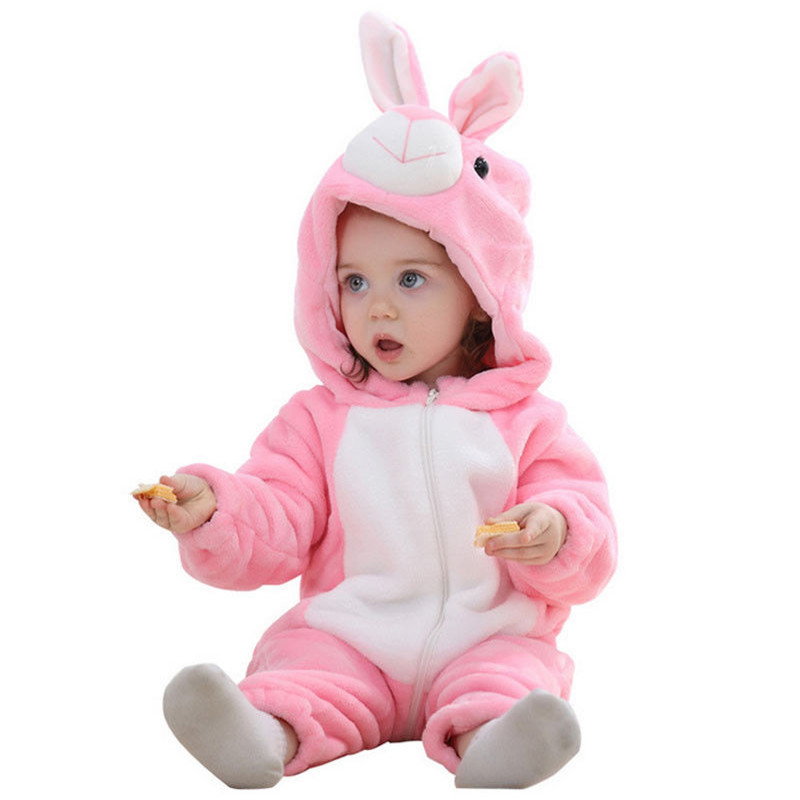 Lovely Kid Baby Boy Girl Warm Rabbit Flannel Zipper Hooded   Romper   Bunny Soft Jumpsuit Outfit Baby's costumes Winter Baby Clothes