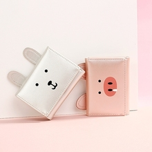 Pig Wallet Female Short Paragraph Cute Creative Pearl Laser Pu Ladies Hand Bag Mini Change