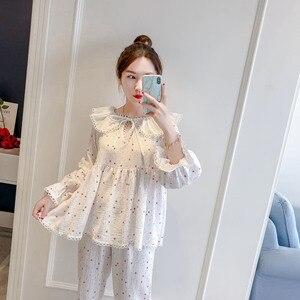 Image 2 - 2019 Spring Autumn Women Cute Pajamas Sets With Pants Cotton Sleepwear Cute Lace V Neck Double Gauze Nightwear Pijama