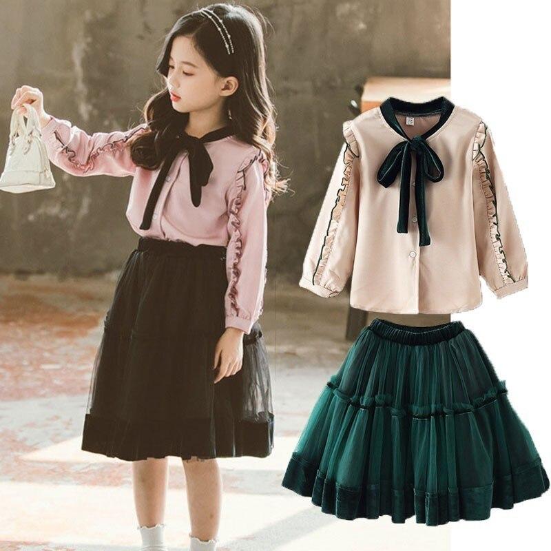 d1a05e8ed Conjunto de ropa de niños de otoño primavera adolescente conjuntos de ropa  para niñas volantes Camisas manga larga faldas 2 piezas trajes