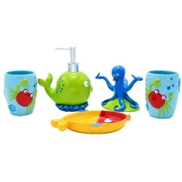 Kids'Bathroom Accessories Set 5Pcs Toothbrush Holder Bath Room Decor Lovely Cute Crab Octopus Whale Color Resin Children Gift