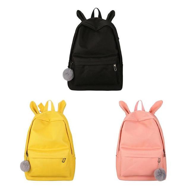 Portable Teenager Girls Rabbit Ears Backpack Women Casual Nylon Bag Students School Shoulder Bag Travel Rucksack Feminina Mochil
