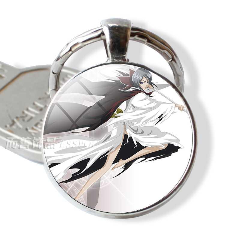אופנה אביזרי תכשיטי אקונומיקה תליון זכוכית כיפת Keychain Keyring Ichigo Kurosaki Shinigami הולו מסכת Keyring אנימה מנגה