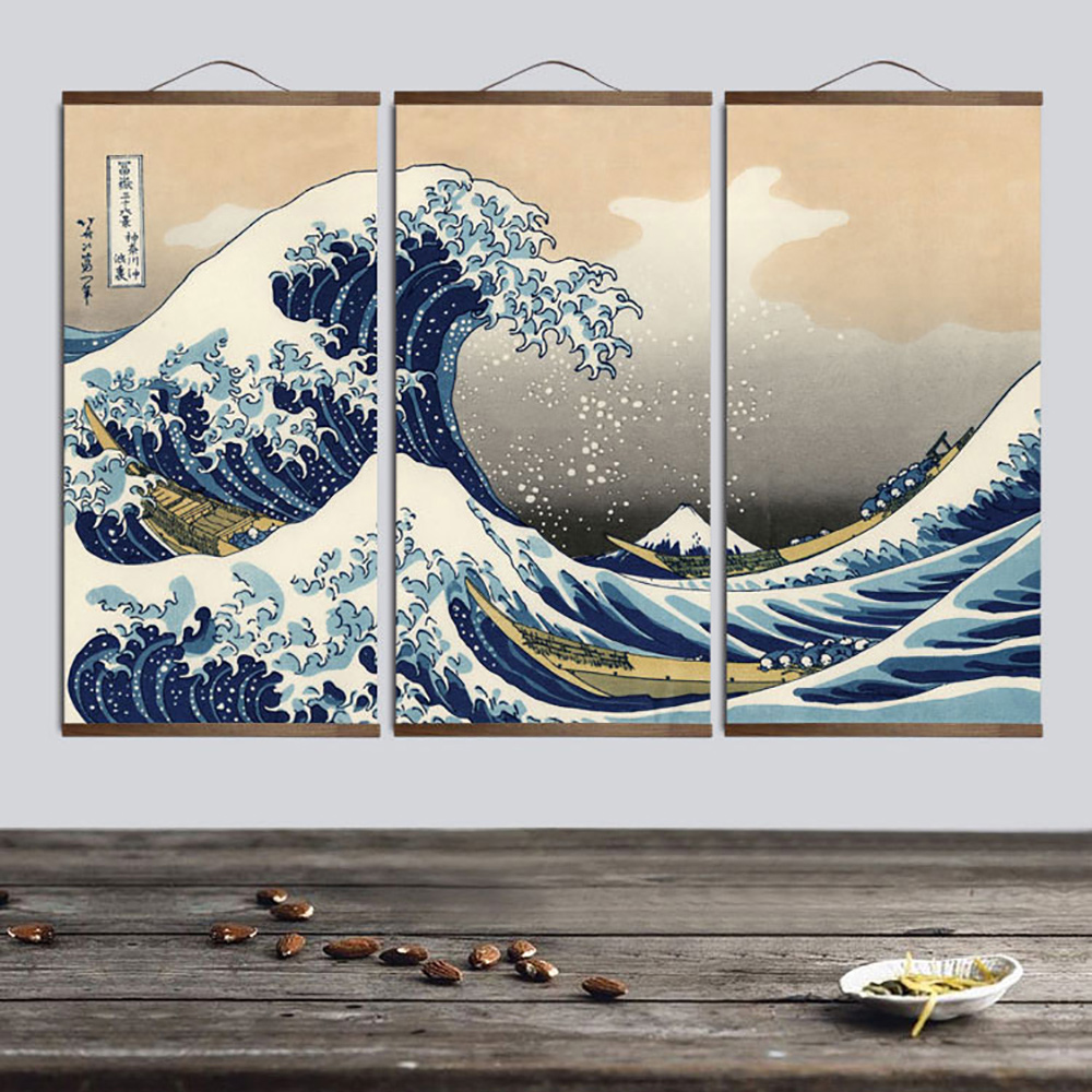 tableau vague kanagawa 🌊 hokusai peinture japonaise 1 Affiches et impressions peinture art mural style japonais Ukiyo e Kanagawa Surf toile art peinture mur