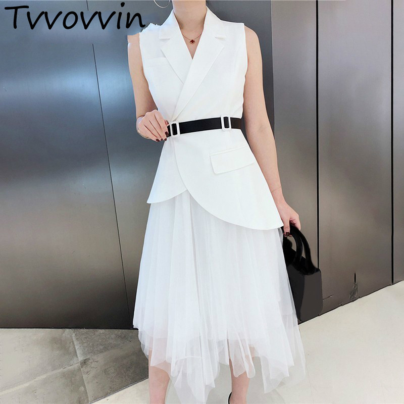 Solid Irregular Two Piece Set Women Lapel Off Shoulder Sleeve Slim Vest High Waist Mesh Skirt Female Suit Spring AS053