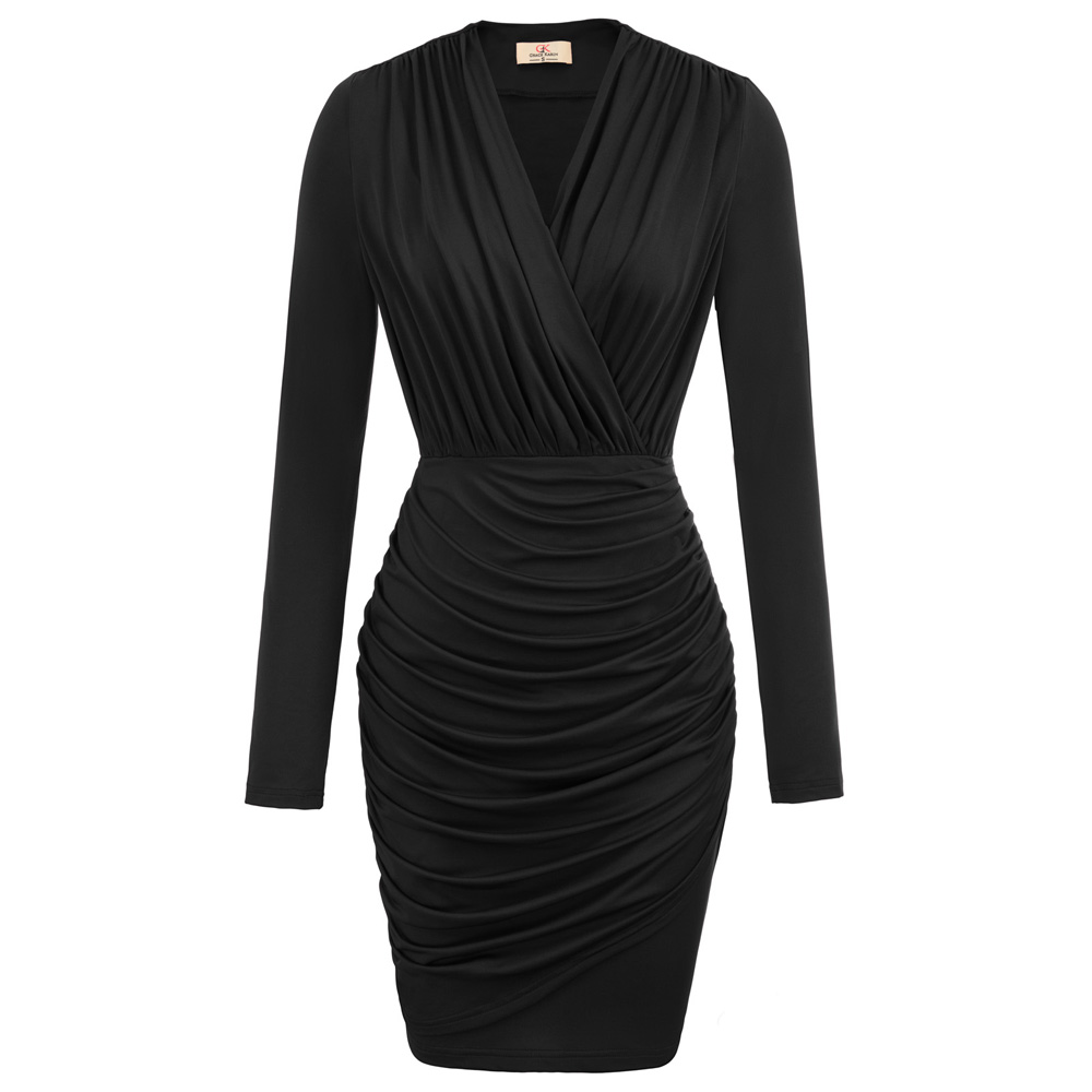 1950s 40s Womens V Neck Wrap Pleated Midi Dress Long Sleeve Bodycon Formal Party Fashion Sexy Women Dress 2019