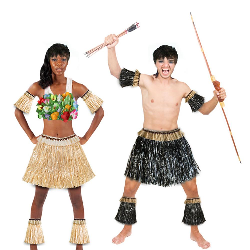 Hawaiian Grass Skirt Set Flexible Five piece Suit For Men And Women Delicate Lace Inlay Tropical Party Performance Costumes in Party DIY Decorations from Home Garden