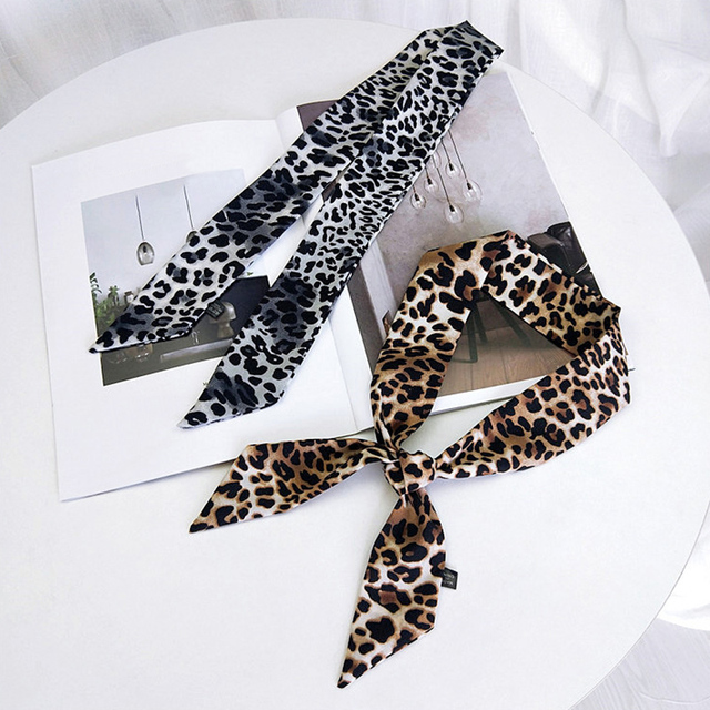 Hot 1PC Square Scarf Leopard Hair Tie Band For Women Elegant Business Print Neck Silk Satin female Scarf 6