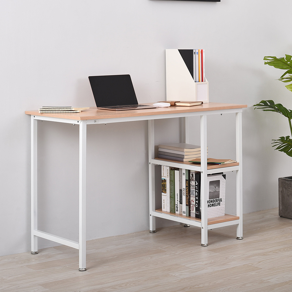 Panana Modern Home Office Desk Computer PC Table Workstation Bookcase 2 Tier Shelf Storage Study Table Furniture