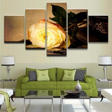 Modern Home Wall Decoration Canvas Modular Picture Art HD Printed Painting On 5 Pieces Yellow Rose Flower For Living Room
