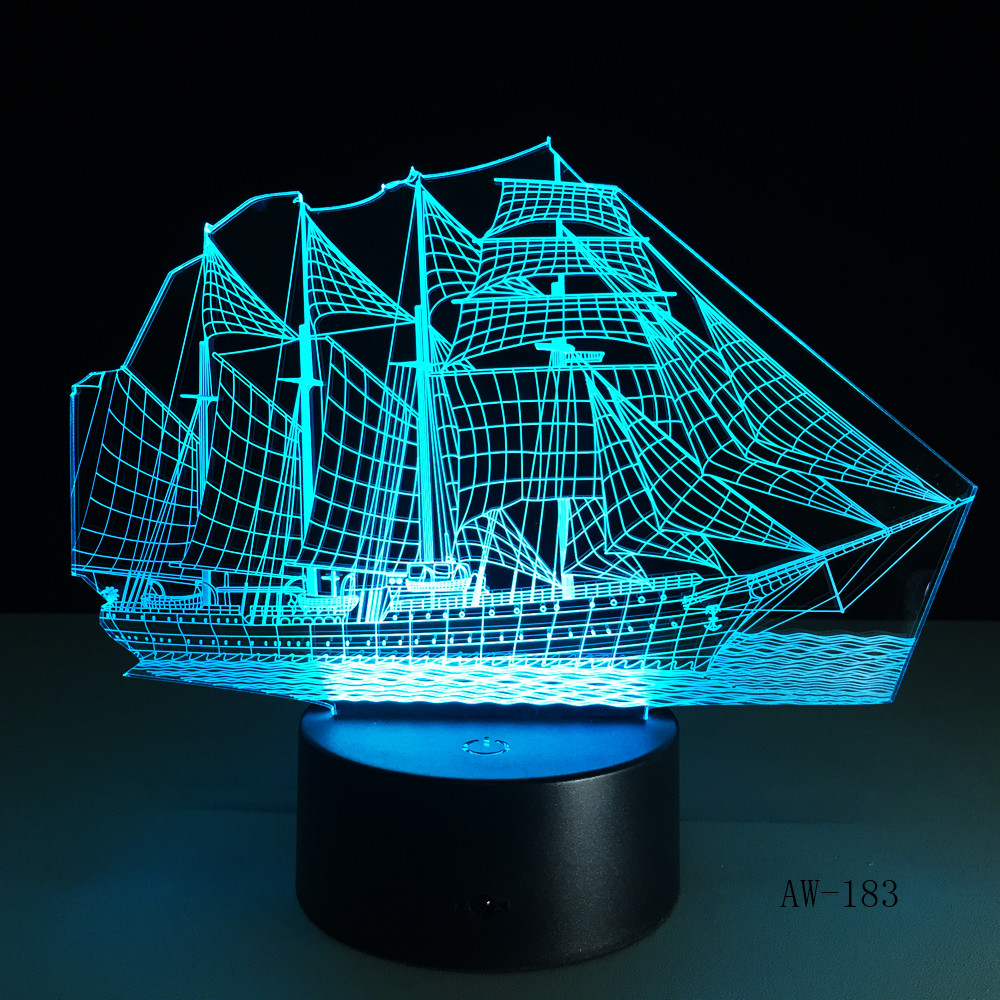 3D Retro Ancient Sailing Sea Boat Ship LED Lamp Chinese Style Multicolor Illusion RGB Night Light USB Table Desk Decor AW -183 image