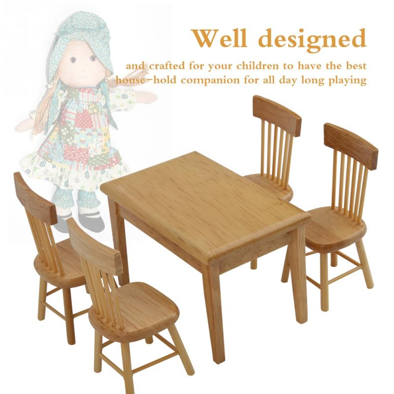TABLE AND CHAIR SET AND PIE SAFE DOLLHOUSE FURNITURE MINIATURE 5 PC