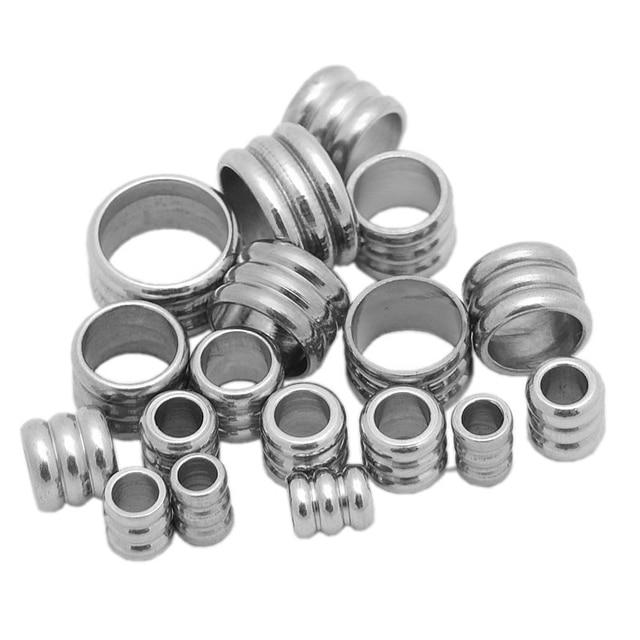 20 pcs Aço Inoxidável Big Hole Spacer Beads Anel Interno do furo 2 3 4 5 6 milímetros para a Jóia DIY contas de Artesanato Colar Pulseira Achados
