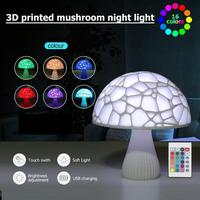16 Colors 3D Mushroom LED Lamp Touch Switch Remote Control Night Light Birthday Gifts for Kids Bedroom Decor