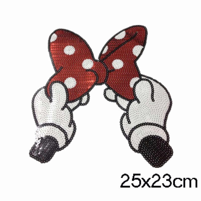 Cartoon Sequins Embroidered Minnie Bow Stickers On Clothes Sewing Patches Clothing Accessories T-shirt Coats Decorative Decals